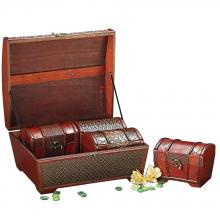 Howard Elliott 1950 - Deep Brown Faux Weaved Leather Boxes 4 Box Set