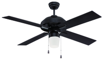 "Craftmade SB52FB4 - South Beach 52"" Ceiling Fan with Blades and Light in Flat Black"