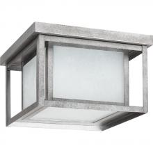 Sea Gull 79039BLE-57 - Fluorescent Hunnington Two Light Outdoor Flush Mount in Weathered Pewter with Seeded Etched Glass