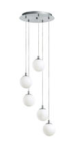 Eglo 90556A - 5x40W Multi Light Staircase Pendant w/ Matte Nickel Finish & White Glass